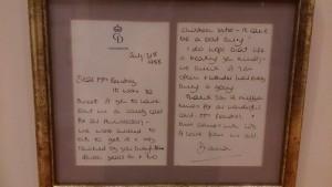 Ausgestellter Brief von Lady Diana aus dem Jahr 1988